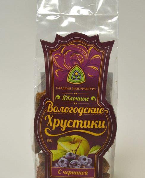 Хрустики из натуральной пастилы с ЧЕРНИКОЙ 60 гр