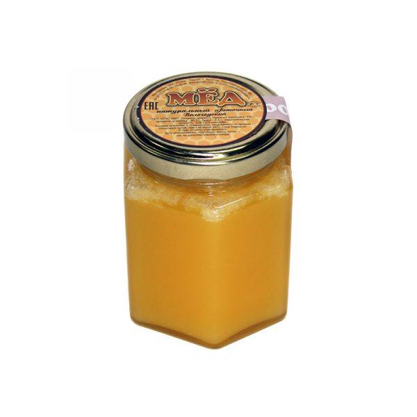Мед натуральный в стеклянной банке (шестигранник), 0,25 кг