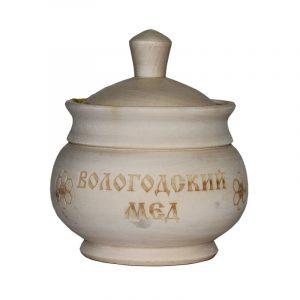 Медовница деревянная точёная с медом, 0,15 кг