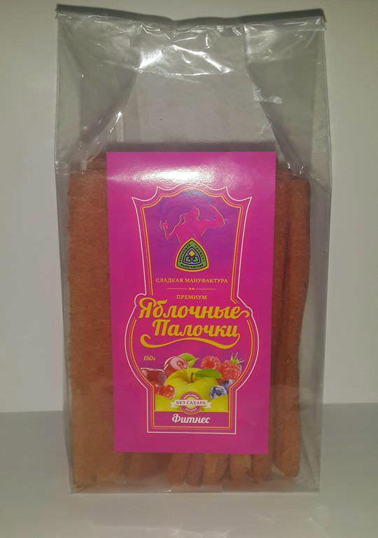 Яблочные палочки без сахара и фруктозы «Фитнес» 150 гр