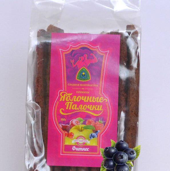Яблочные палочки без сахара и фруктозы с черникой «Фитнес» 150 гр