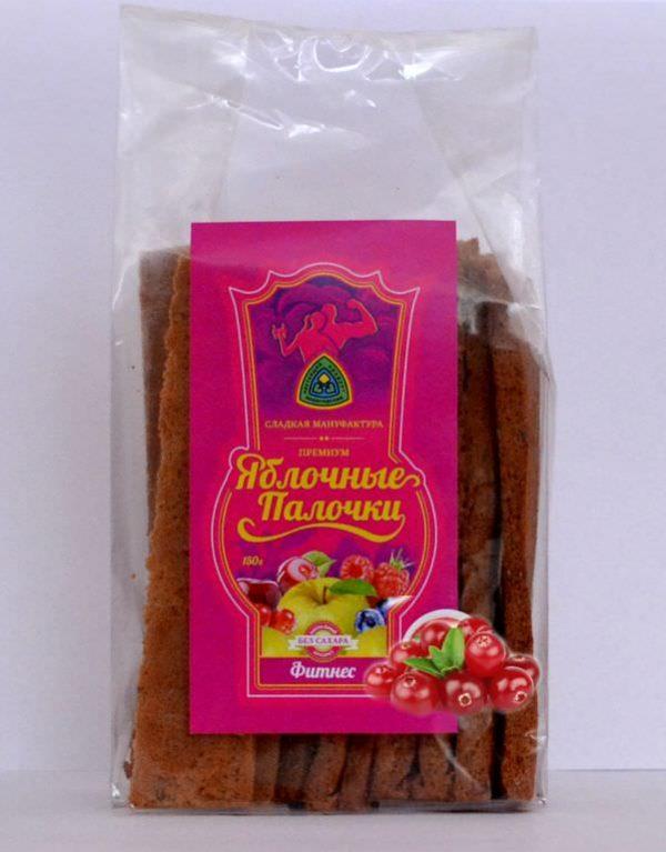 Яблочные палочки без сахара и фруктозы с клюквой «Фитнес» 150 гр