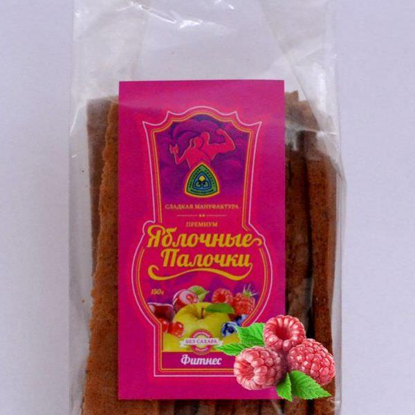 Яблочные палочки без сахара и фруктозы с малиной «Фитнес» 150 гр