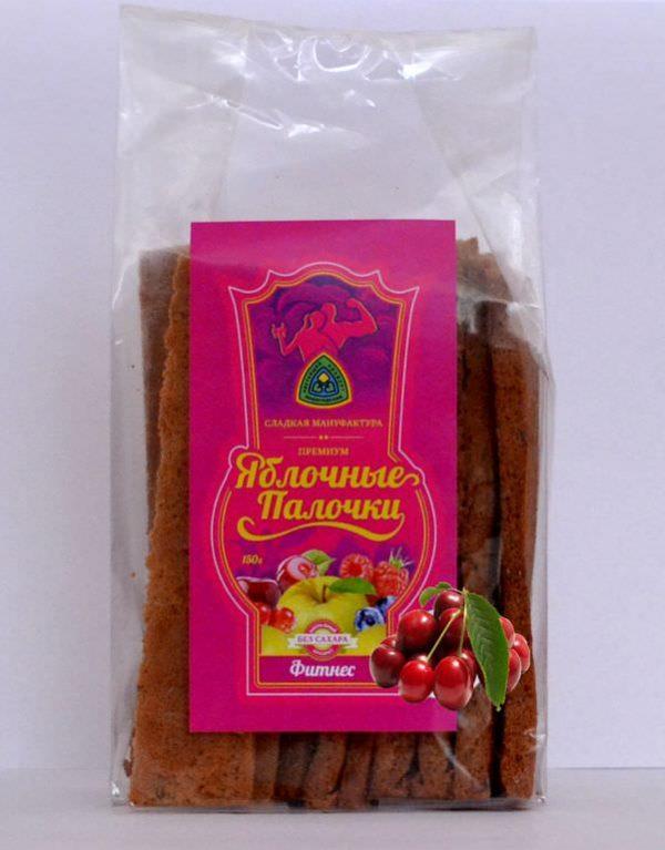 Яблочные палочки без сахара и фруктозы с вишней «Фитнес» 150 гр