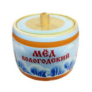 Бочонок деревянный с медом (пейзаж зима), 300 гр