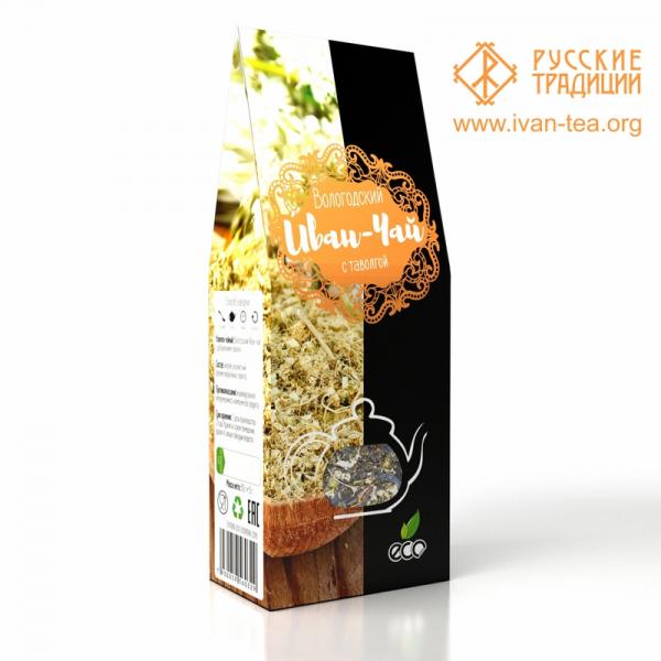 Вологодский Иван-чай с таволгой в картонной упаковке, 50 г