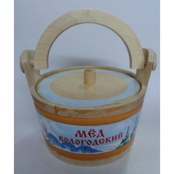 Ушат деревянный с Вологодским медом (пейзаж)